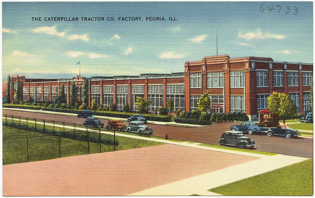Pocztówka przedstawiająca fabrykę Caterpillar Tractor Co. w Peorii z lat 1930–1945
