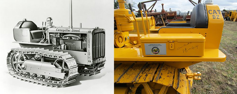 Stara maszyna gąsienicowa Caterpillar i nowa maszyna gąsienicowa CAT